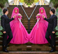 Wholesale Wedding Dress Tulle Muslim - Fushia Muslim Wedding Dresses 2016 High Neck Lace Beaded Long Sleeve Bridal Vestidos Tulle Ball Gown Wedding Gowns Custom Made Plus Size