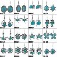 joyeria tibetana para mujer al por mayor-Pendientes de turquesa Pendientes de gota de turquesa de plata tibetana para mujer 32 Estilos Pendiente de joyería natural Diseño de marca Ventas calientes Joyería de Bijoux