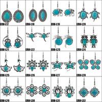 tibetli gümüş takı küpeleri toptan satış-Turkuaz Küpe Tibet Gümüş Turkuaz Bırak Küpe Kadınlar için 32 Stilleri Doğal Takı Küpe Marka Tasarım Sıcak Satış Bijoux Takı