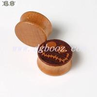tünel boyutları toptan satış-Sıcak satış 2015 yeni moda Ücretsiz kargo bambu ahşap özel kulak tıkacı eti tüneller guages piercing Vücut Takı boyutu 12-28mm FK-807