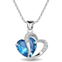 Wholesale Rhinestone Silver Plated Alloy Pendant - Top Heart Crystal Amethyst Pendant Necklace Fashion Class Women Girls Lady swarovski elements Jewelry 12 PCS 7 Colors