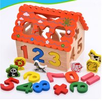 Wholesale Wood Match Box - Funny wooden toy educational wisdom house learning shape number digital color box knock ball hammer matching game baby toddle kids toy hot