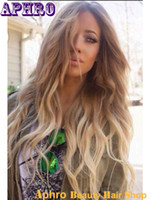 Wholesale Human Hair Wave Bangs - Silky Straight Ombre Brown Platinum Blonde Human Hair Silk Top Full Lace Wigs 130%Density Glueless Brazilian Hair Lace Front Wigs With Bangs