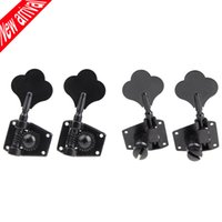 Wholesale Electric Guitar Pegs - Wholesale- 4pcs set 4R Black Electric Bass Tuners Machine Heads Tuning Pegs Keys Set With Mounting Screws & Ferrules Guitar Parts