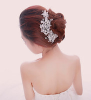 Wholesale Korean Hair Jewelry - Wholesale handmade lace pearl bride headdress,Wedding bride hair accessories,Korean girls pearl hairpin,china cheap jewelry.10pcs.LX(