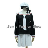 Wholesale Long Sleeve Anime Uniform - Anime CARDCAPTOR SAKURA cosplay costume KINOMOTO SAKURA Female School Uniform Women Long Sleeve Sailor Suit Halloween Clothing