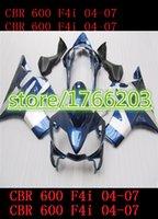 Wholesale Honda Cbr F4i Lights Fairings - blue light black fairings set for CBR600 F4i 04 05 06 07 CBR 600 F4i 2004 2005 2006 2007 abs fairing