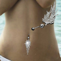 Wholesale Hot Navel Chain - Fashion Hot Sexy Titanium Steel Navel Piercing Body Jewelry Belly Claw Chain Tassel Nail Acrylic For Women