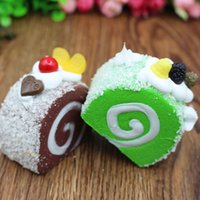 Colorful Simulazione Frutta Swiss Roll Artificiale Squishy Slow Rising Kids Toy Home Kitchen Party Decoration <b>Store Market</b> Display