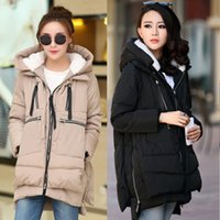 Wholesale Types Jacket Women - Wholesale-Colorful Plus Size Winter Jackets for Women Loose Type Hooded Thicken Parka Casual Zippers Pockets Military Coat Female WP105