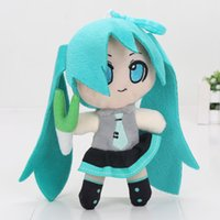 Wholesale Love Dolls Japan - 6.2'' 16cm VOCALOID Japan Anime Hatsune Miku Smiling Plush Toy Doll Pendant with hook love small gifts