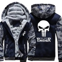 Il Punisher Winter Warm Hoodies Cranio Casual Hooded Coat uomini Cardigan Spessa Giacca Giacca Felpa