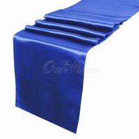 Wholesale Blue Organza Table Runners - 5pcs lot Royal blue Deep blue Dark Blue Satin Table Runner Wedding Cloth Runners Silk Organza -RUN