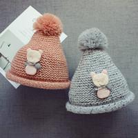 örme şapkalar toptan satış-Sıcak Bebek Sevimli ayı Şapka Kız erkek Yürüyor Örme yün şapka Karakter Tarzı Bebek Çocuk Tığ Caps Sonbahar Kış sıcak Şapka