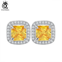 Wholesale Princess Cut Cz Earrings - Princess Cut Yellow Zircon Earring Stud with AAA Grade Micro Paved CZ Luxury Earring for Women OE123
