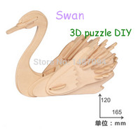 Wholesale Jigsaw Woodcraft 3d - Wholesale-Intelligent Swan Model Puzzle 3D Three-Dimensional Jigsaw Woodcraft Animal Series Puzzle IQ Toy