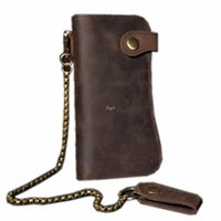 Wholesale Horse Print Wallet - Men's Crazy Horse Leather Hasp Wallet With Chain