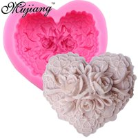 Wholesale Heart Flower Soap Molds - 3D Handmade Soap Molds Silicone Cake Fandont Mold Heart Shape Flower Rose Candle Clay Moulds Kicchen Cake Baking Tools