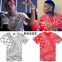 Wholesale La Rhude Bandana Shirts - 2016 Tyga Justin Bieber t shirt RHUDE LA Bandana KTZ hip hop t-shirt streetwear tshirts KTZ men Harajuku XXXL 4XL 5XL mens tees tops