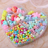 Wholesale Assorted Acrylic Shapes - 300 pcs per set Assorted Color Plastic Beads Set For Kids Crafts in Heart-shaped Case free shipping