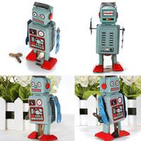 Wholesale Toy Robot Wind Up - Vintage Mechanical Clockwork Wind Up Toys Walking Radar Robot Tin Toy Retro Vintage Gift Kids Children Toys With Key