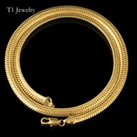 Flat Choker Punk Chunky 6MM Snake Chain Necklace Bracelet Fashion Позолоченные Perfect Men Jewelry Hiphop Accessories