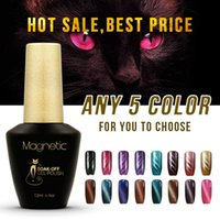 Wholesale Nail Gel Brands - Brand Azure 12ml UV magnet gel 5pcs lot Cat Eyes Polish Gel Soak off UV lamp glue Nails Art lasting gel nail Lacquer