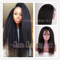 Wholesale Elastic Hair Tie Charm - Charming Wig Italian Yaki African Americans Wigs Brazilian Virgin Kinky Straight Human Hair Full  Lace Front Wigs With Baby Hair