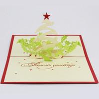 idee weihnachten großhandel-Qubiclife Weihnachtsgruß 3D Stereo Weihnachtskarte Ideen handgemachte Karten 2015 3D handgemachte Karte 3D Pop UP Geschenk Gruß 3D Segen Karten P
