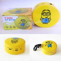 Wholesale Minions Usb Dhl - BT25 Naughty Minions USB TF Cards Speaker High Quality HY-BT25 Speaker Stereo Soundbox with Five Naughty Minions Expression Free DHL