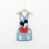 Wholesale Dress Cowboy Baby Girl - New Girl children Denim Suspender Dress Cartoon Mickey Mouse sequins Bow cowboy braces dress fashion baby girl denim dress C001