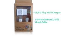mobile s4 venda por atacado-2A 2000mA Para S4 / S5 Micro USB Cabo 2 em 1 Carregador Kits USB 3.0 Carregador EU / EUA Adaptador de Carregador de parede Para Samsung S4 S3 S5 HTC telefone Móvel US7