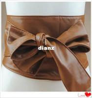 Wholesale Wholesale Elegant Corsets - New Arrive Women Elegant PU Leather Wrap Around Bowknot Bind Wide Waistband Corset Cinch Belts All-match Wide Stretch Waist Cummerbund