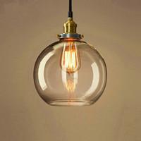bakır tavan pandantif ışık toptan satış-Temizle cam küre pendan ışık modern mutfak kolye aydınlatma UL listelenen bakır taban asılı tavan kolye lamba