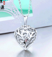 Wholesale Sterling Photo Locket Wholesale - New Fashion Lockets Rhodium Plated Heart Photo Frame Pendants 925 Sterling Silver Jewelry Accessories without Chain Wholesale 20pcs lot