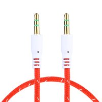 Wholesale Flat Rca Cable - DHL Free Colorful Flat Noodle 3.5mm Aux Audio Auxiliary Cable Jack Male to Male Plug Stereo Cord Wire for iphone
