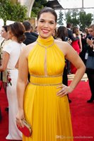 Wholesale Miss America Evening Gowns - Sexy High Neck Yellow America Ferrera Red Carpet Celebrity Dress 2016 73rd Golden Globe Awards Evening Dresses Keyhole Neck Formal Gowns
