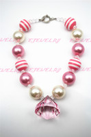 Wholesale Skeleton Necklace Pink - Pink Water Drop Bubblegum Beaded Girl Bubblegum Chunky Necklace Tickle Me Couture CB197