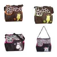 Wholesale zebra bags resale online - Animal diaper bag mummy nappy bags Zebra giraffe multifunctional fashion mother baby Shoulder Bags C3101