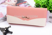 Wholesale Mustache Coin Purse - Wholesale-2015 New Women's Wallets Brand High Quality Smooth PU Leather Mustache Purse Clutch Wallets Lady Coin Purse Cards Holder