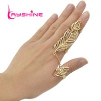 Wholesale Chain Double Finger Ring - Wholesale- Steampunk Gold-Color Silver Color Leaf Double Full Finger Ring With Rhinestone Chain Link Accessories Chain Rings&Stack Rings