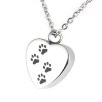 Wholesale Cremation Jewelry Heart Necklace - Lily Cremation Jewelry Puppy Pet Dog Paw Print Heart Necklace Memorial Urn Pendant Ashes with gift bag and chain