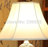 Wholesale Porcelain Blue Lamps - Wholesale-Blue and White Porcelain Fabric Flower Vase Table Lamp from Jingde Living Room Bedroom Dining Room Decor QTL35