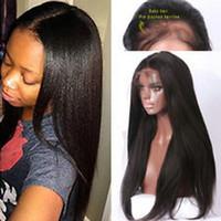 cabelo textura yaki venda por atacado-Textura afro-americana Yaki em linha reta 360 laço frontal peruca de cabelo humano pré arrancado 360 laço peruca luz yaki para as mulheres negras sobre 14 polegada