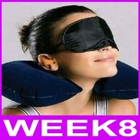 Wholesale Travel Pillow Ems - Wholesale-3 in1 Travel Set Inflatable Neck Air Cushion Pillow + Eye Mask + 2 Ear Plug Amenity Kit By EMS Free Shiping