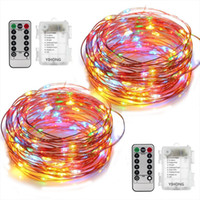 Wholesale color changing candles remote - DIY Christmas 33ft LED String Lights Battery Operated Lights Multi Color Changing String Lights Remote Control Waterproof 16.4ft Decorative