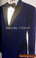 Wholesale Tailored Suits For Men Purple - Wholesale- Tailored Velvet Groom tuxedos wedding suits for mens 3 pieces suits (coat+Pants+tie)CM7651403