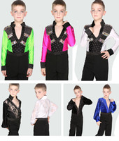 Wholesale Latin Dance Outfits - Children Boys Professional Stage Performance Dance Suits Costumes Black White Dance Outfit Ballroom Latin Waltz Tango Skirt Pants