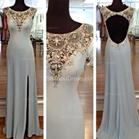 2015 Новый стиль Mermaid Scoop Neck Capped Slit Front Beading Crystal Backless Evening Dresss Официальные вечерние платья SZSM37