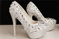 Wholesale Beaded White Wedding Shoes - Fashion Luxury Crystals Rhinestone Wedding Shoes Size 12 cm High Heels Bridal Shoes Party Prom Women Shoes Free Shipping